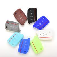 Wholesale Auto Car Accessories Key Pouch Bag for VW VOLKSWAGEN Golf GTI Flip Remote Key Case BTN Buttons PC