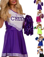Wholesale Sexy Cheerleading Uniforms Classic Cheerleader Dress Dance Cosplay Costumes For Womens Clothes Club Wear Outfits Black Blue Purple Rose M L