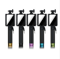 Wholesale Luxury Universal Wired Selfie Stick Monopod with Mirrior For Iphone Samsung Android IOS Camera
