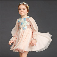 Wholesale Pretty baby girl dresses summer clothing childrens for girls floral long sleeve kids dress Pleated flower lace skirt girl clothes