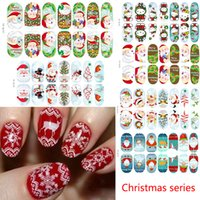 Wholesale 12 Styles Full Nails Wraps Christmas Santa Nail Art Decals Nail Art Stickers Foils Tips DIY Decal Nail Tools YB Q157