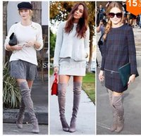 designer sheepskin boots - 2015 autumn winter hottest sexy designer boots women suede leather slim fit over the knee boots female stretch motorcycle booty