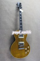 Wholesale LP standard Electric Guitar s bright yellow tiger Mahogany flamed super top High quality guitarr free shiping beautiful and fashion