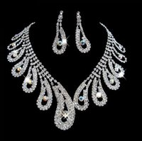 Cheap Chinese style peacock tail design crystal diamond necklace earrings Jewelry Set Wedding Accessories Party FS009