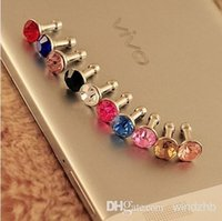 Wholesale 1000pcs Bling Diamond Earphone Headphone Anti dust Plug Dust Ear Cap for iPhone S S for Samsung Xiaomi HTC mm Jack Headset Phone