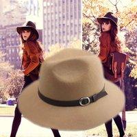 tea party hats - 2015 Autumn Winter Wool Fedora Hat Chapeu Feminino Panama Wide Brim Felt Floppy Fedoras Tea Party Hats with Belt YY0358