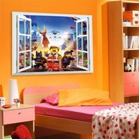 Wholesale 2015 Cartoon Batman Window View Mural Wall Sticker Vinyl Decal Kids Boys Room Decor