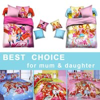 Wholesale Newest Winx Club Twin Full Bedding Sets Flat sheet Kids Duvet Cover Bed Sets Girls Printed Pillowcases