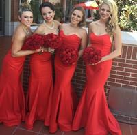 al por mayor vestidos de dama de honor de raso de color rojo oscuro-Rojo oscuro 2015 vestidos de dama de honor sirena formal 2016 vestidos de noche cuello cariño sin mangas corsé piso hasta el suelo satinado partido vestidos