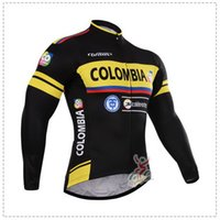 Wholesale SPRING SUMMER ONLY CYCLING JACKETS CLOTHING LONG JERSEY ROPA CICLISMO COLOMBIA PRO TEAM BLACK YELLOW C034 SIZE XS XL