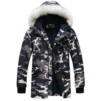 Cheap 2015 new winter jacket for mens parka Fashion cool men Camouflage large fur collar long design wadded jacket outerwear warm coat