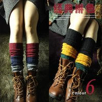 wool boot socks - 2014 New Hot Sale Color Winter Stripe Patchwork Boot Socks Wool Women Gaiters Keep Warmer Knitted Leg Warmers