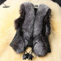 Wholesale 2014 new arrival short female faux fox fur vest leather vest plus size ladies leather vest faux fur vest women coat