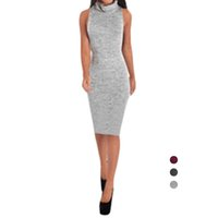 Wholesale S5Q Women Simple Sexy Sleeveless High Collar Knit Slim Package Hip Bodycon Dress AAAFMG