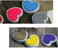 Wholesale 2015 New Arrival Candy Colored Heart Shaped Inks Love Diy Creative Partner Multicolor Stamp Pad Stamp DHL Free