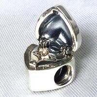 Revisiones Corazón del oro de la pulsera 925-925 plata esterlina 14K oro verdadero del regalo del encanto del grano del corazón con la CZ adapta Europea Pandora joyas colgantes pulseras de los collares