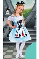 alice style dress - girl Alice costumes t cosplay kids performance clothes cartoon dress canival party clothing headband dress set