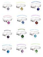bezel pendants - Birthstone Crystal Pendant of Months Birthstone Alex and Ani Charm Wiring Bracelet expandable bangle