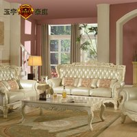 Wholesale European top cowhide leather sofa classical sofa sofa combination of American wood carving sofa villa