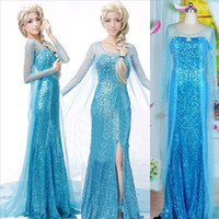 Cheap Elsa Adult Princess Cosplay Dress Lace Wedding Dresses Frozen Elsa Queen Princess Adult Evening Party Maxi Dress Cosplay Costumes For Women