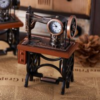 antique sewing table - New Classic Antique Brownish Sewing Machine Novelty Desktop Collectors Clock High Grade Desk Table Clocks Best Gift RR204