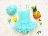 Wholesale 2016 Flower Cake Colors Children Girls Dress One piece With Swim Cap Swimwear Summer Kids Swimming Clothes Baby Beah Wear Year