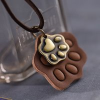 bear claw necklaces - Retro Fashion Leather Bear claw necklace XL00098 long
