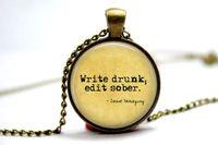 american edit - 10pcs Ernest Hemingway quot Write drunk edit sober quot necklace Glass Photo Cabochon Necklace1