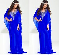 apple coral jewelry - Jewelry Blue Dubai Abaya Evening Dresses jewellery V Neck Short Sleeve Sweep Train Chiffon Ruffles New Prom Party Pageant Dresses Gown