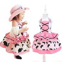 cow calf - New Fashion Girls Summer Princess Dress Halter Cow Pattern Panelled Criss Cross Peplum Kid Dress Tiered Mid Calf Lovely Children Dress