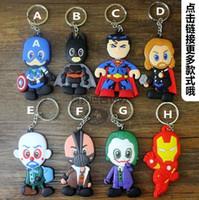 Wholesale 23 Style The Avengers Captain America Superman Spiderman Batman superhero cartoon double sided keychain cartoon rubber doll pendant C001