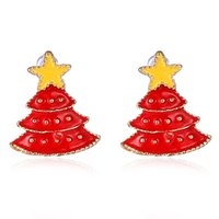 Wholesale Christmas earrings alloy red Christmas tree star studs earrings cuff fashion jewelry for women Christmas jewelry present