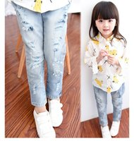 Wholesale The new children in the children s clothes girls stretch of cultivate one s morality joker jeans ripped jeans trousers BH1193