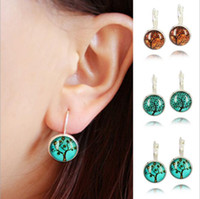 Cheap Fashion New 2015 Life Wisdom Tree Stud Pendientes Earring For Women Glass Cabachon Brincos Perola Art Photo Dome Round Earrings EH268
