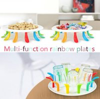 Wholesale New Rainbow fruit dish colorful fruit bowl vegetable plastic dishes plates tableware tools Creative tea tray I