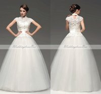 Wholesale Elegant Ball Gown Church Wedding Dresses High Collar Neck Tulle And Lace Bridal Gowns Short Sleeve Floor Length Made In China Good Sale sdd