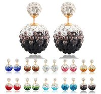 shamballa earrings - 8mm mm Gradient Reversible Shamballa Stud Earrings Double Sided Multi Color Disco Ball Pave Crystal Rhinestone pair Colors