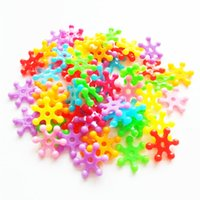 plastic charms - 15MM Christmas Multicolored Fun Trinkets Acrylic Plastic Snowflake Spacer Beads for DIY Charm Bracelets and Crafts