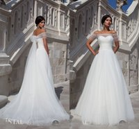 Wholesale 2015 Designer Off The Shoulder Elegant A Line Wedding Dresses Sheer Backless Cheap Bridal Wedding Gown Cheap Custom Made HC