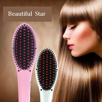 Wholesale Fast Hair Comb Straightener Beautiful Star hot item colors pink and white Digital Temperature Controller Black box DHL FREE OTH143