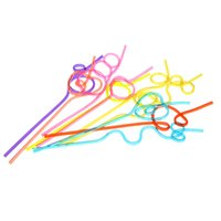 Wholesale 10pcs set Colorful Straw Crazy Curly Loop Coloured Plastic Drinking Straws for Birthday Party Bar