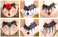 american steam - Fashion Women choker necklaces Vintage Handmade Retro Short Gothic Steam punk Lace Flower statement Necklaces pendants jewelry