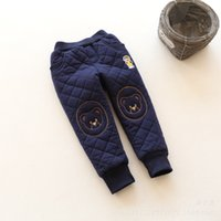 bears navy brand - New Kids Winter Warm Pants Baby Cotton padded Pants Boys Girls Cartoon Bear Thick Cotton Pants Children Trousers Gray Pink Navy