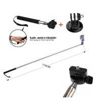 Wholesale Extendable Long Handheld Flexible Monopod Tripod Selfie Stick Tripod Mount Adapter For GoPro Hero SJ xiaoyi