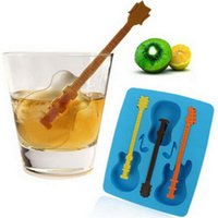 Wholesale Summer Blue DIY Ice Tray Mould New Cute Ice Cream Tools Silicone Guitar Shape Chocolate Cake Ice Cream Moulds free ship