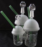Wholesale II generation without ROOR design Sandblasted Starbuck Cup Glass smoking pipes Galss bongs Glass Oil Rig Joint size mm and mm SL052