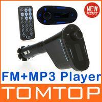 Wholesale Promotion Remote Control Car Kit Wireless FM Transmitter Modulator MP3 Player USB SD Blue