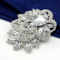 Wholesale Fashion Jewelry Brooches Star Jewelry Huge Size Elegant Clear Rhinestone Crystal Diamante Large Gift Bridal Brooch For Wedding amp Party
