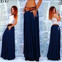 Cheap 2015 New Arrival Full Long Maxi Skirt Pleated Casual Skirt Autumn And WinterSkirts Women's Clothes free shipping