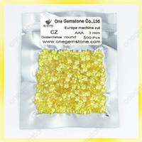achat en gros de or jeu de pierre-Cire en cire cubique zirconia pierres européenne machine 3mm or jaune cz pierres